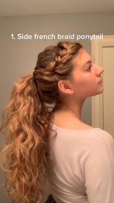 Bun Hairstyles For Long Hair, Girl Hairstyles, Cute Cheer Hairstyles, Cheerleader Hairstyles, Wavy Hair, Simple Hairstyles For School, Easy Teen Hairstyles, 2c Hair, Basketball Hairstyles