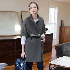 Women Wool Trench Coat Parka Long Jacket Waistcoat Outwear Autumn Winter UTAR