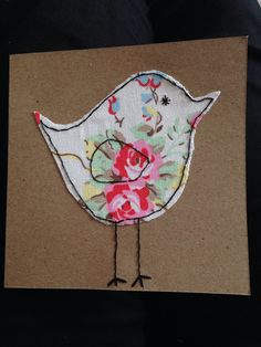Here we have a beautiful Cath Kidston fabric made into a lovely bird design with hand stitched edges. This card will be appreciated by anyone