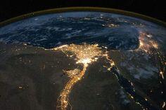 Noches en el Delta de Nilo, visto desde la Estacion Espacial Internacional