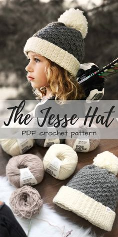 """PDF Crochet pattern for this lovely textured hat """"The Jesse Beanie"""" I love the pompom and the full brim on this cozy looking hat! #etsy #ad #pdfcrochetpattern #instantdownload #printable"""