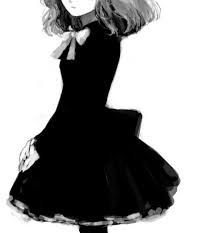 Image result for black and white anime girl