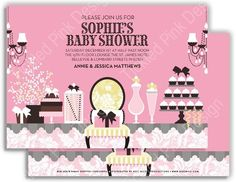 Baby Shower Sweets Invitation #chandelier #babyshower #fashionable #classy #docmilo
