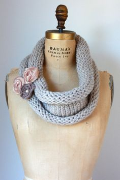 Natural Chunky Knit Cowl with Fabric Flower by TwoElephantsShop, $40.00