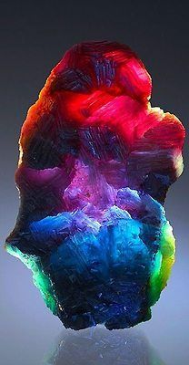 The range of colours shown by fluorite is equaled by few other gemstones. This may be photoshopped.