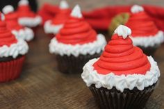Santa Hat Chocolate Cupcakes