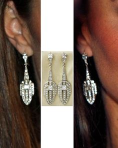 Beaut Jewellery Ava-Eva Earrings. The dazzling Art Deco designs are part of the brand's Vintage Style Collection. The handmade silver earrings with 9ct gold hoops and crystal paste stones retail for £195. Kate first wore the shimmering earrings with a one-shoulder Jenny Packham gown at the National Memorial Aboretum dinner at St James's Palace in 2011.