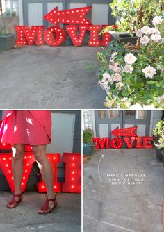 DIY movie marquee sign for backyard outdoor movie night! Diy Marquee Letters, Marquee Sign, Marquee Lights, Paper Letters, Bulb Lights, Foam Letters, Globe Lights, Diy Party Dekoration, Do It Yourself Inspiration