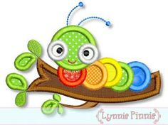 COLORFUL CATERPILLAR Applique  4x4 5x7  Machine Embroidery Design Lynnie Pinnie   INSTANT Download