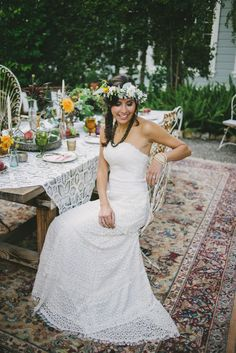 Celia Grace fair trade, eco, ethical, handmade, bohemian, vintage inspired lace wedding dress.  Loveridge Photography. Sammy Williams Hair & Makeup. Sandals: Sseko Designs. Jewelry: Lisa Leonard Designs. Lori Boe Floral Design.