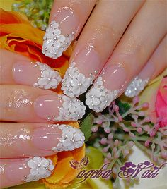 3D flower nail art #pink and white