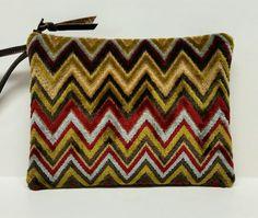Wristlet clutch in mid century-inspired velvet by GirlGeniusGoods