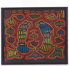 Early 1900's 'Hawk', a brilliant colored hand stitched Mola textile. The Mola forms part of the traditional outfit of a Kuna woman, two Mola panels being incorporated as front and back panels in a blouse. Molas have their origin in body painting. Only after colonization by the Spanish and contact with missionaries did the Kuna start to transfer their traditional geometric designs on fabric, first by painting directly on the fabric and later by using the technique of reverse application…