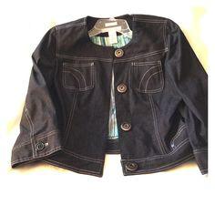 NEW! Denim jacket Nine & Company Fashion Denim jacket with 3/4 button cuff sleeves. Never worn. Nine & Company by Nine West Jackets & Coats Jean Jackets