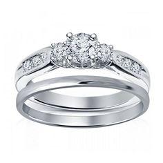 Three Stone Round Cut Sim. Diamond 14Kt White Gold Finish Bridal Ring Set Sz 5 6 #ThreeStoneRing
