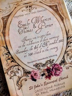 Romantic Vintage Wedding Invitation...not my theme and now I may want to change it because of this.
