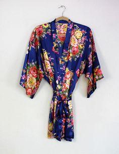 Floral Satin Robe, $21.50, navy