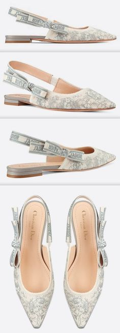 J'Adior Slingback Toile De Jouy Embroidered Cotton Flats Dior, Leather Sneakers, New Shoes, Patent Leather, Kitten Heels, Flats, Chic, My Style, Cotton