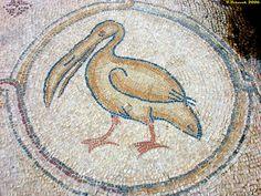 Roman Mosaic. Pelican. Caesarea, Israel.