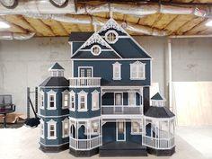 Wooden Dollhouse Kits, Victorian Dollhouse, Victorian Gothic, Dollhouse Miniatures, Gothic Mansion, Dollhouse Supplies, Balcony Doors, Porch And Balcony, Balcony Railing