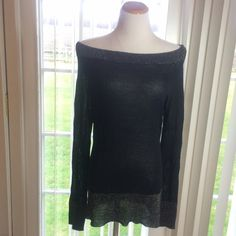 Black & Silver Tunic Very light, almost sheer black tunic with silver metallic outlining the bottom the sleeves and the neck.  Long sleeves Can be worn off the shoulder or not!  NWOT. (PB2) Tops Tunics