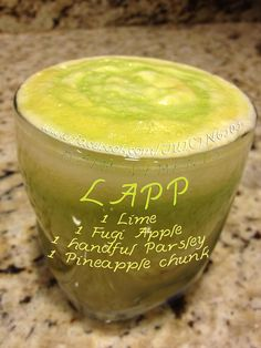 Juicing Vegetables and Fruit   LAPP:  Lime  Apple  Pineapple  Parsley     Drink, Sip, or Lapp it up       https://www.facebook.com/JUICING101
