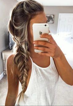Long hair styles, mermaid braid