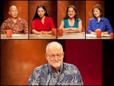 """PBS Insights with moderator Dan Boylan (bottom): What are the mental health challenges for Native Hawaiians?     Panelists from left to right:   Poka Laenui, Executive Director Hale Na`au Pono;  Christen Marquez Filmmaker, """"E Haku Enoa: To Weave a Name"""";  Vicky Holt Takamine Founder, PA`I Foundation;  Dr. Nalani Blaisdell-Brennan Psychiatrist, Honolulu and Wai`anae"""