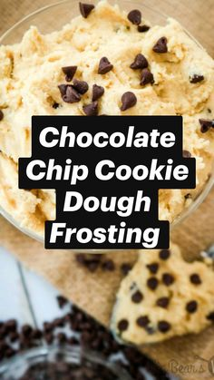 Fun Baking Recipes, Sweet Recipes, Cookie Recipes, Dessert Recipes, Cookie Dough Frosting, Chocolate Chip Cookie Dough, Chocolate Frosting, Cookie Dough Dip, Edible Cookies