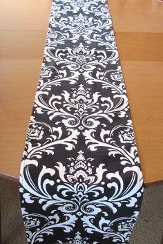 Black Table Runner. Damask Table Runner.Wedding Table by KikoyChic, $18.00