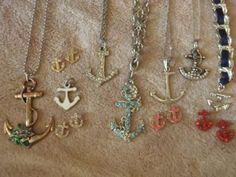 anchor fashion looks like my jewelry box:) Anchor Jewelry, Anchor Necklace, Nautical Jewelry, Nautical Fashion, Love Ring, Diamond Are A Girls Best Friend, Mode Style, Jewelery, Jewelry Box