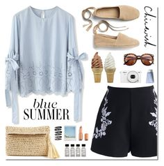 """""""Blue summer"""" by purpleagony ❤ liked on Polyvore featuring Chicwish, Gap, Nikon, Ann Taylor, Charlotte Tilbury and Clips"""