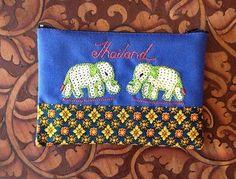 Thai Bag Wallet Zipper Elephant Sequined:Souvenir GiftCardCosmeticCoinMoney