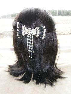 BEAUTIFUL VINTAGE HAIR CLIP GRIP BARRETTE HEAD PIECE WEDDING BRIDAL FAUX PEARLS 45$