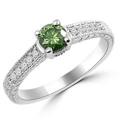 Jewelry Point - 0.68ct Fancy-Green Diamond Vintage-Style Engagement Ring, $950.00 (http://www.jewelrypoint.com/0-68ct-fancy-green-diamond-vintage-style-engagement-ring/)