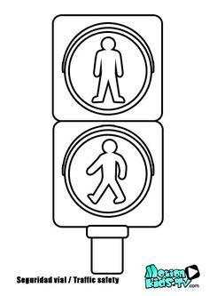 Colorear semaforo de peatones, pintas señales trafico, recursos seguridad vial -- Pedestrian Traffic light coloring pages, traffic signs, road safety resources