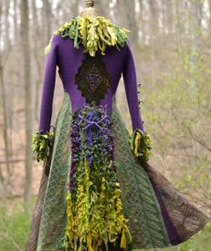 @: Green purple sweater Coat with beaded appliqué and by amberstudios