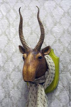 Купить Голова сайгака на стену - сайгак, трофеи, головы животных, украшение интерьера, дизайн интерьера