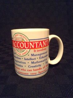 Papel White Ceramic Accountant Coffee Cup Mug Word Jobs Numbers Figures #Papel