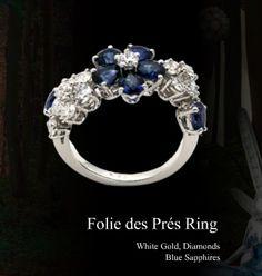 Van Cleef & Arpels 'Folies des Pres' sapphire and diamond ring #jewellery #jewelry