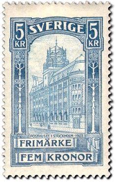 """Sweden 5kr """"Post office"""" 1903. Paul Wicke sc."""