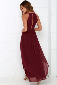 When you're dreaming about the Dream Girl Wine Red Maxi Dress you won't want to wake up! Elegant chiffon in a lovely wine red hue shapes a high, halter neckline above a sleeveless pin-tucked bodice embellished by a front keyhole. Panels of chiffon flutter atop the sweeping maxi skirt as it falls effortlessly from a fitted, empire waist. Back keyhole has two-button closure. Hidden zipper/hook clasp at back. Fully lined. Self: 100% Polyester. Lining: 95% Polyester, 5% Spandex. Dry ...