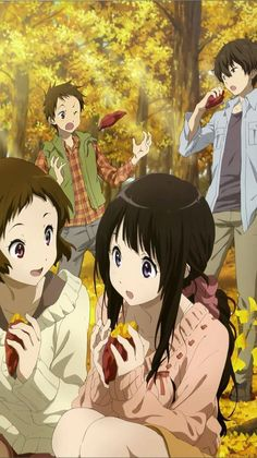 Hyouka Frinednship to the family happy forever and after the end Manhwa, Animes On, Anime Friendship, Kyoto Animation, Hyouka, Nisekoi, Anime Best Friends, Slice Of Life, Anime Artwork