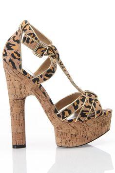 Bebe Fabiana Leopard and Cork Heels