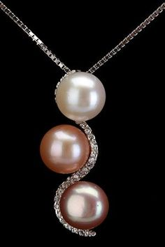 June's Pearl ... Check out these Splendid Pearls - 8-8,5 mm Pearl Trio Pendant Necklace In Multicolor. http://www.diamondsandgoldgb.com