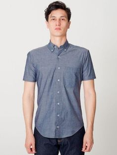 American Apparel Chambray Short Sleeve Button-Down With Pocket American Apparel