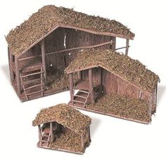 Gerson Wood and Moss Nativity Stable - Set of 3 - This Gerson Wood and Moss Nativity Stable - Set of 3 adds a natural look to your nativity scenes. Place miniature manger figures in and around the stables.The GIL/Sterling Wood Nativity Stables - Set Nativity Stable, Diy Nativity, Christmas Nativity Scene, Nativity Scenes, Simple Nativity, Outdoor Nativity, Christmas Crib Ideas, Christmas Home, Christmas Crafts