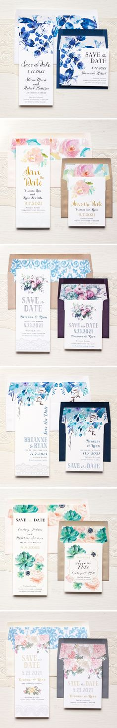 Watercolor Floral Save The Date Cards With Custom Envelope Liners