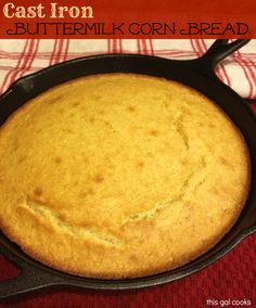 "Cast Iron Buttermilk Corn Bread. I didn't have buttermilk on hand so I added 1T of vinegar to the 1C of milk and let it stand for 5 minutes. 400 degrees for 25 minutes in a glass 8x8"" dish. While still warm I glazed it with honeybutter. Delicious!!"