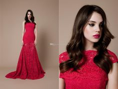 Wholesale Pageant Dresses - Buy New 2014 Sexy Red Lace Pageant Dresses See Through With Wrap Mermaid Queen Dress Evening Dress Gowns Prom Fo...